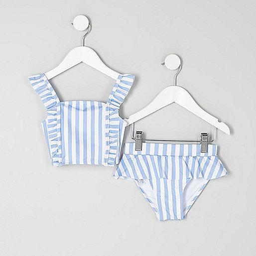 Mini girls blue stripe print bikini set