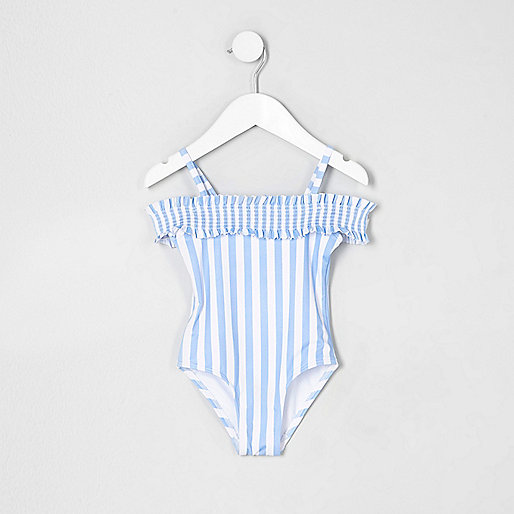 Mini girls blue stripe bardot swimsuit