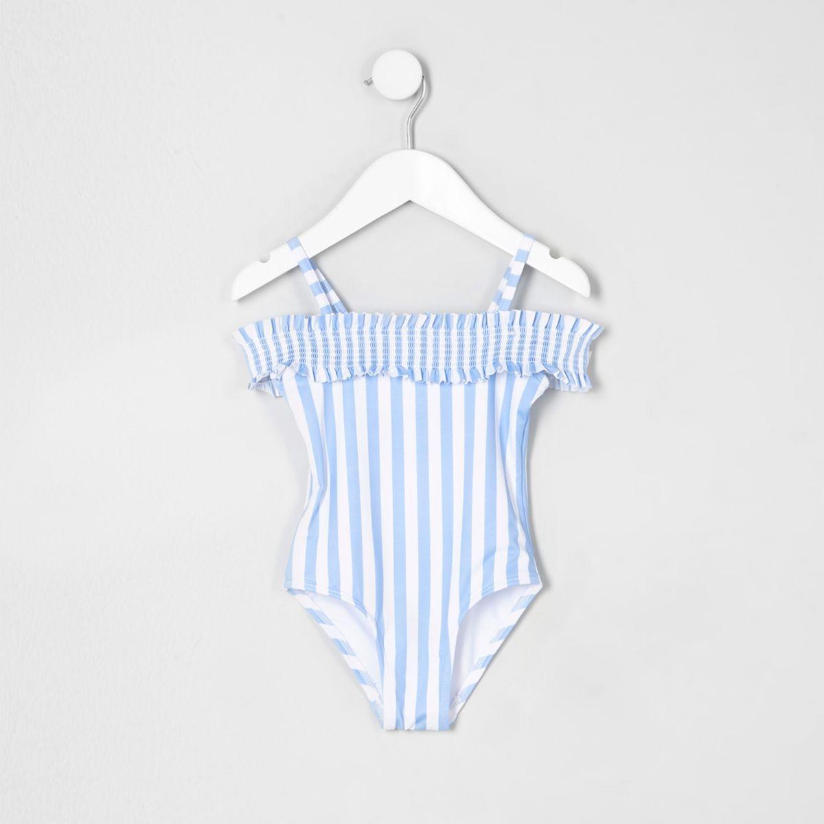 Mini girls blue stripe bardot swimsuit