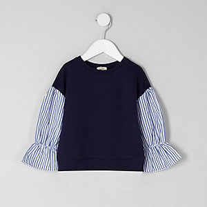 Mini girls navy contrast stripe sleeve jumper