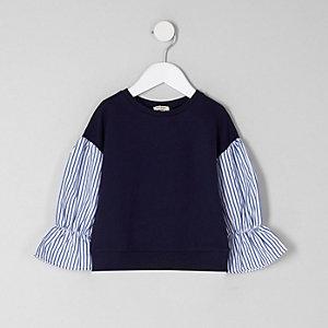 Mini - Marineblauwe pullover met contrasterend gestreepte mouwen voor meisjes
