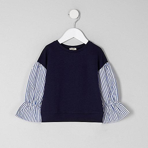 Mini girls navy contrast stripe sleeve jumper