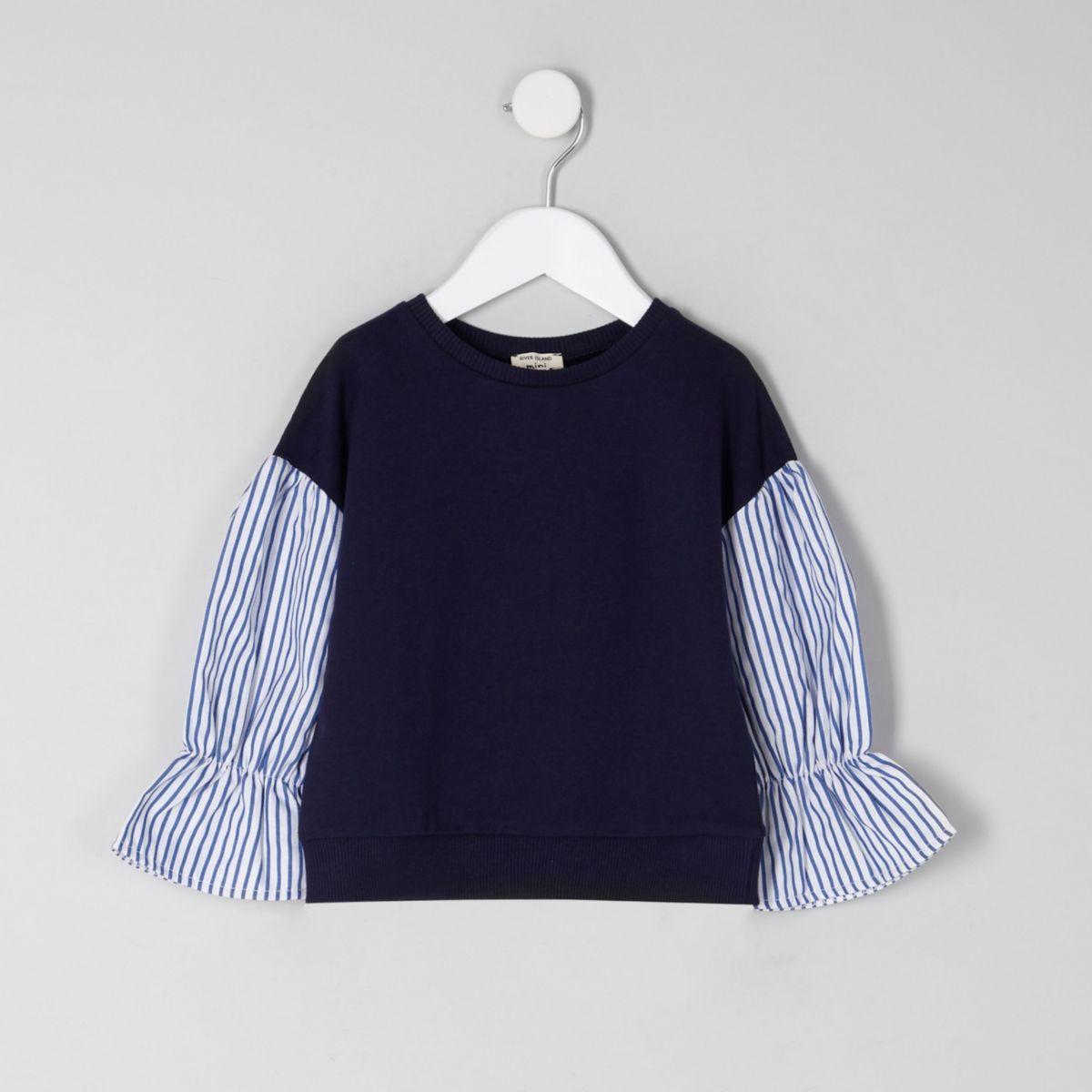 Mini girls navy contrast stripe sleeve sweater