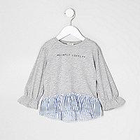 Mini girls grey 'lovely' peplum stripe top