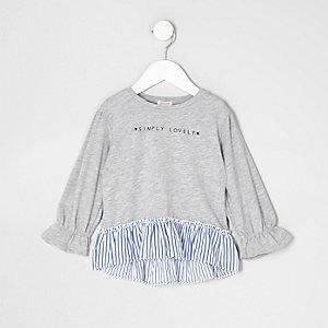 Mini - Grijze gestreepte top met 'lovely'-print en peplum voor meisjes