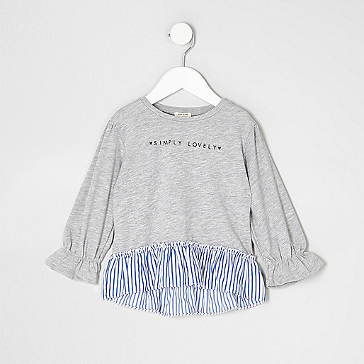 Mini girls grey 'lovely' peplum stripe top