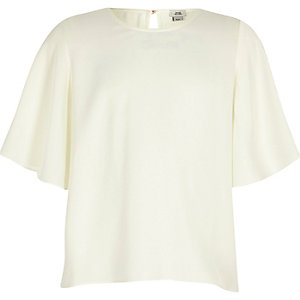 Girls cream flute sleeve top