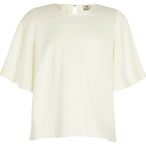 Girls cream flute sleeve top