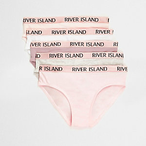 Girls pink RI branded briefs multipack