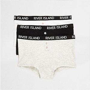 Girls grey RI branded boxers multipack