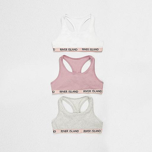 Girls pink racer crop top multipack