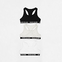 Girls grey racer back crop top multipack