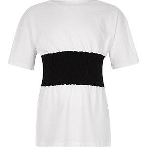 Wit gesmokt T-shirt met paneel voor meisjes