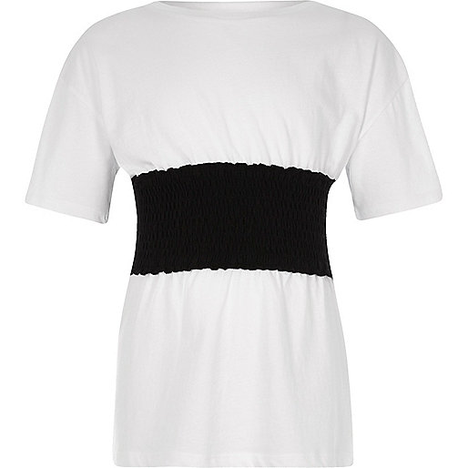 Girls white shirred panel T-shirt
