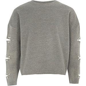 Meliertes Sweatshirt mit geschlitzten Ärmeln