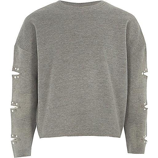 Girls grey marl pearl split sleeve sweatshirt