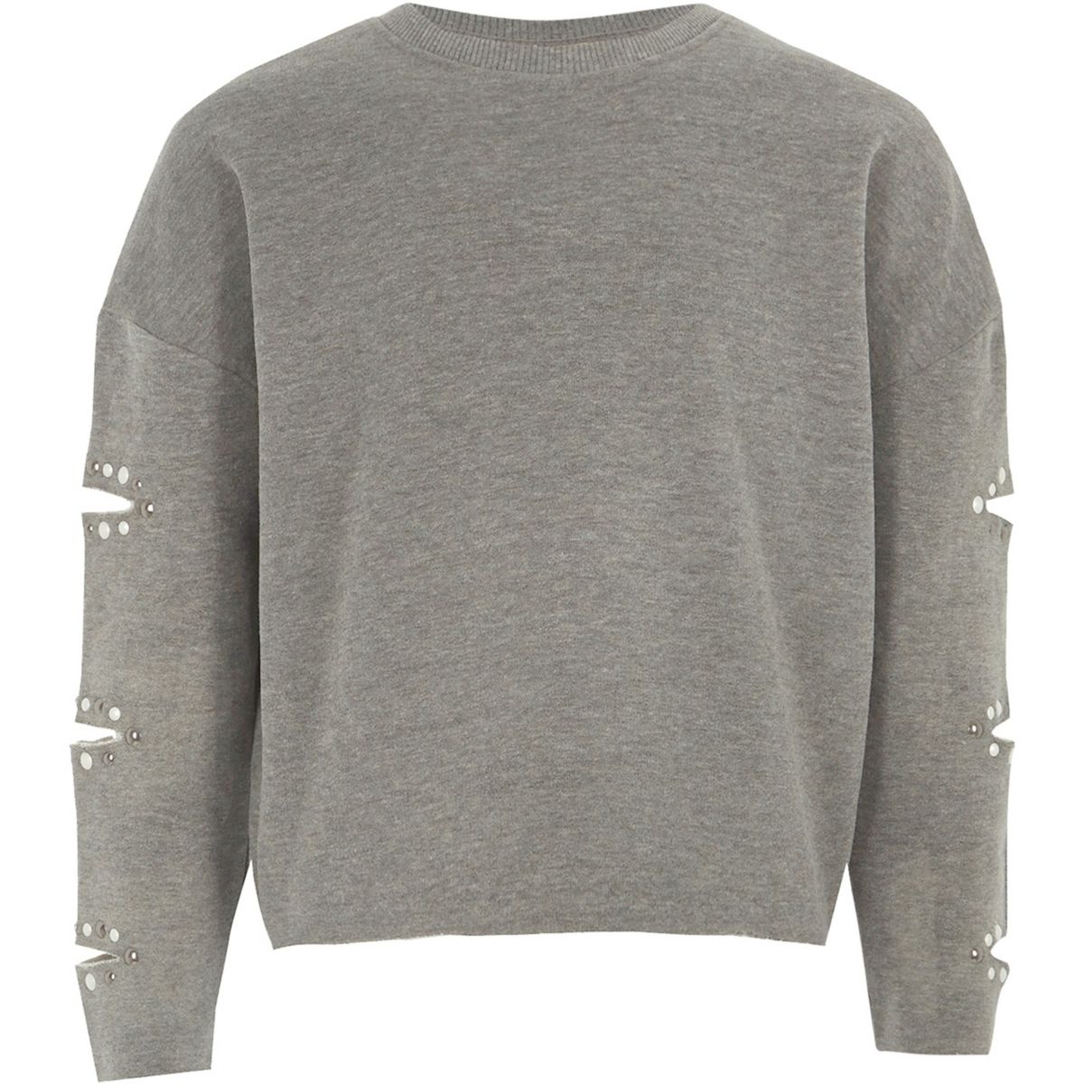 Girls Grey Marl Pearl Split Sleeve Sweatshirt by River Island