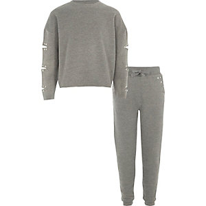 Girls grey marl sweatshirt and joggers outfit