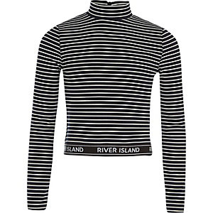 Girls black stripe high neck long sleeve top
