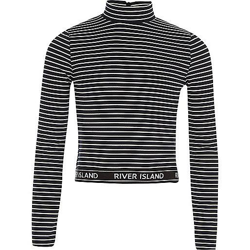Girls black stripe high neck long sleeve top