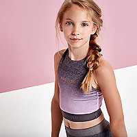 Girls purple ombre 'born to dance' crop top