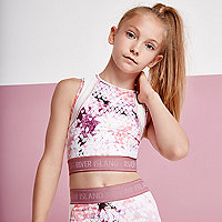 Girls pink geo print racer back crop top