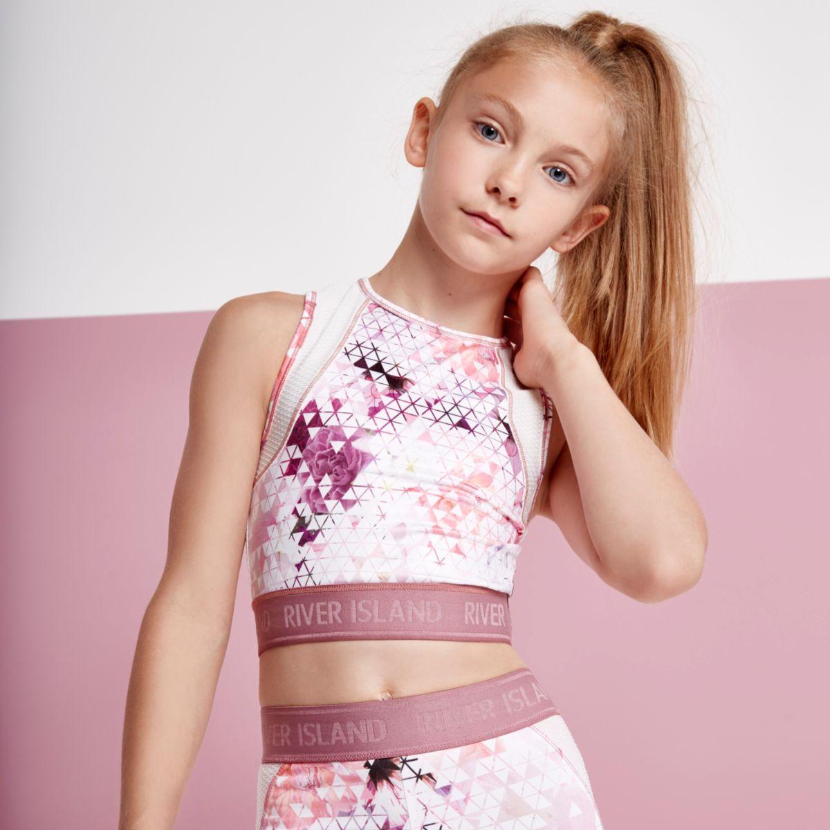 Girls pink geo print racer back crop top