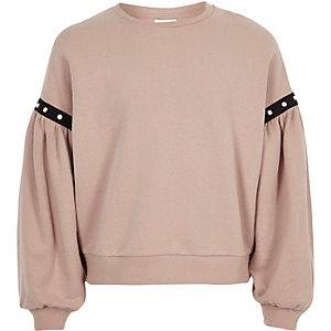 Sweatshirt mit Puffärmeln in Rosa