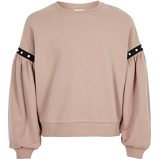 Girls pink puff sleeve sweatshirt