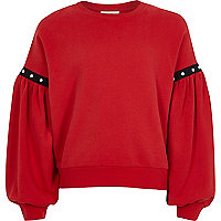 Girls red puff sleeve sweatshirt