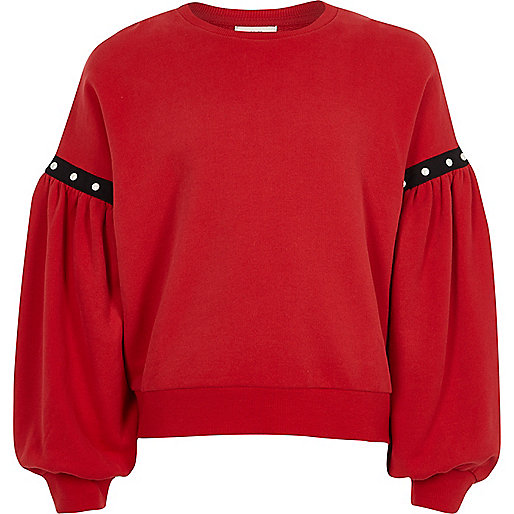 Girls red puff sleeve sweatshirt