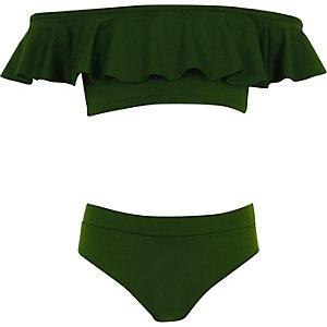 Kakigroene bikini in bardotstijl met ruches voor meisjes