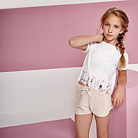 Girls RI Active pink velour runner shorts