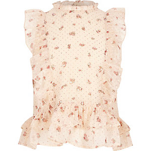 Girls cream floral print high neck frill top