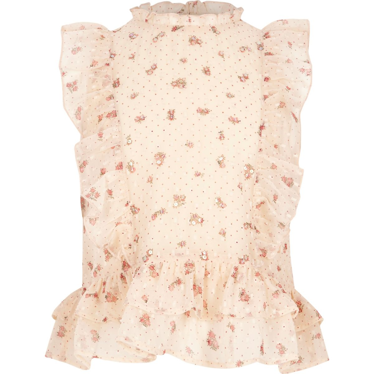 Girls cream floral print high neck frill top