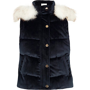 Girls navy faux fur trim hood padded gilet