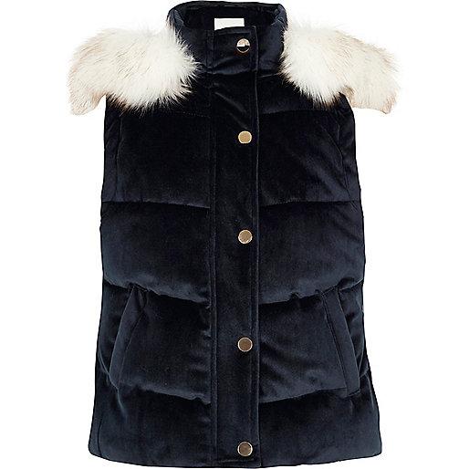 Girls navy faux fur trim hood padded gilet