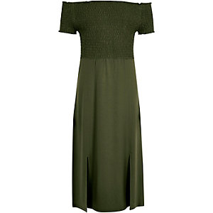 Girls khaki green shirred bardot maxi dress