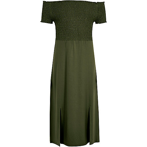 Girls khaki green shirred bardot maxi dress