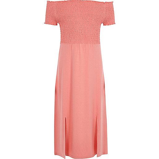 Girls coral shirred bardot maxi dress