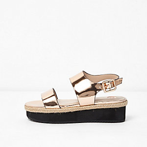 Metallic roségoudkleurige sandalen met plateauzool voor meisjes