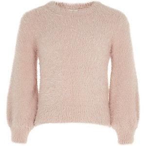 Girls pink fluffy balloon sleeve knit jumper