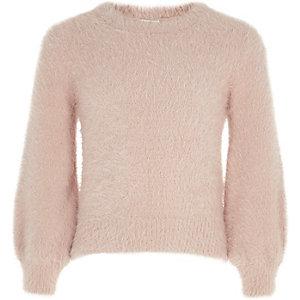 Roze pluizige gebreide pullover met pofmouwen voor meisjes