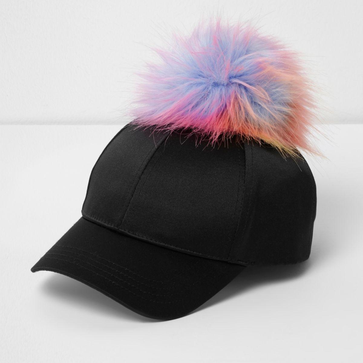 Girls black satin pom pom baseball cap