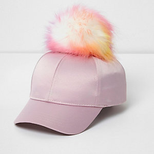 Girls pink satin pom pom baseball cap