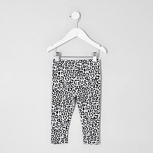Mini girls white leopard print leggings