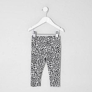 Mini - Witte legging met luipaardprint voor meisjes