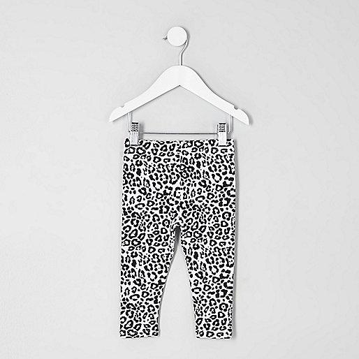 Mini girls white leopard print leggings