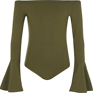 Girls khaki green bell sleeve bardot bodysuit