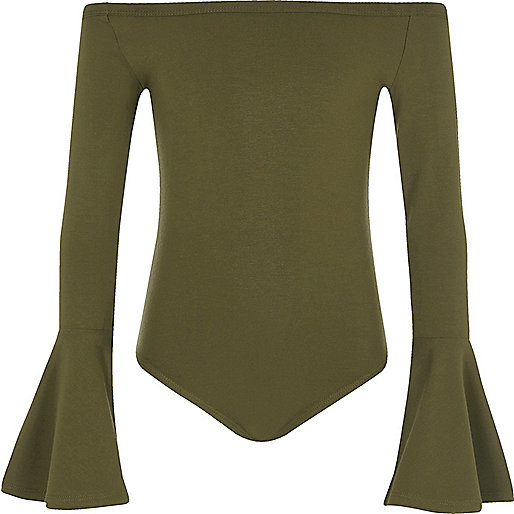 Girls khaki green bell sleeve bardot bodysuit